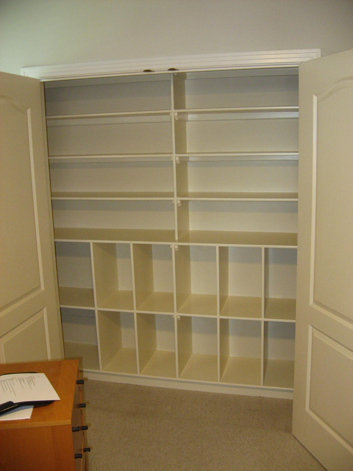 office closet shelving. Our Client Started A Business And Wanted To Use Her Office Closet Store Display Wares. But There Was Only Couple Of Flimsy Shelves, Shelving T